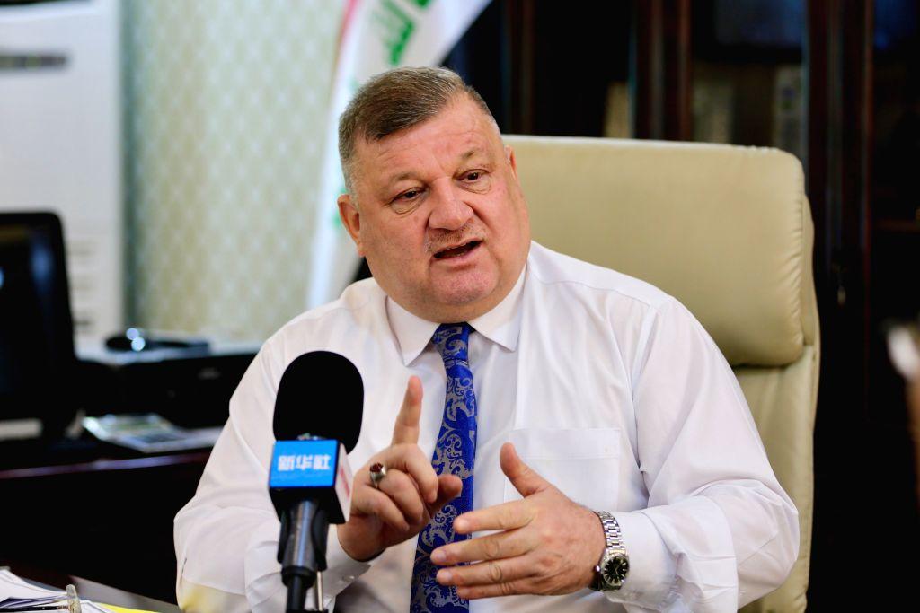 MOSUL, July 10, 2018 - Mosul Mayor Zuhair Muhsin al-Araji receives an exclusive interview with Xinhua in Mosul, Iraq, July 8, 2018. Zuhair Muhsin al-Araji said in an exclusive interview with Xinhua ...