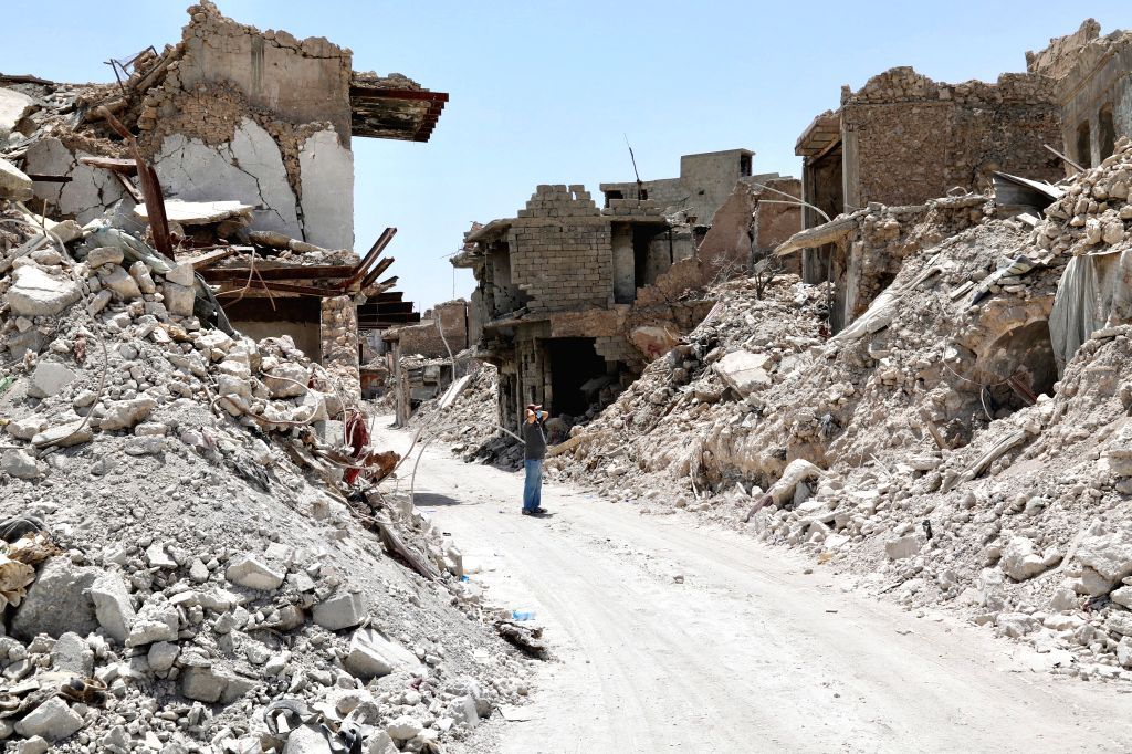 MOSUL, July 10, 2018 - Photo taken on July 5, 2018 shows debris of the collapsed buildings in the old city of Mosul, Iraq. One year after the Iraqi forces liberated the city of Mosul from Islamic ...