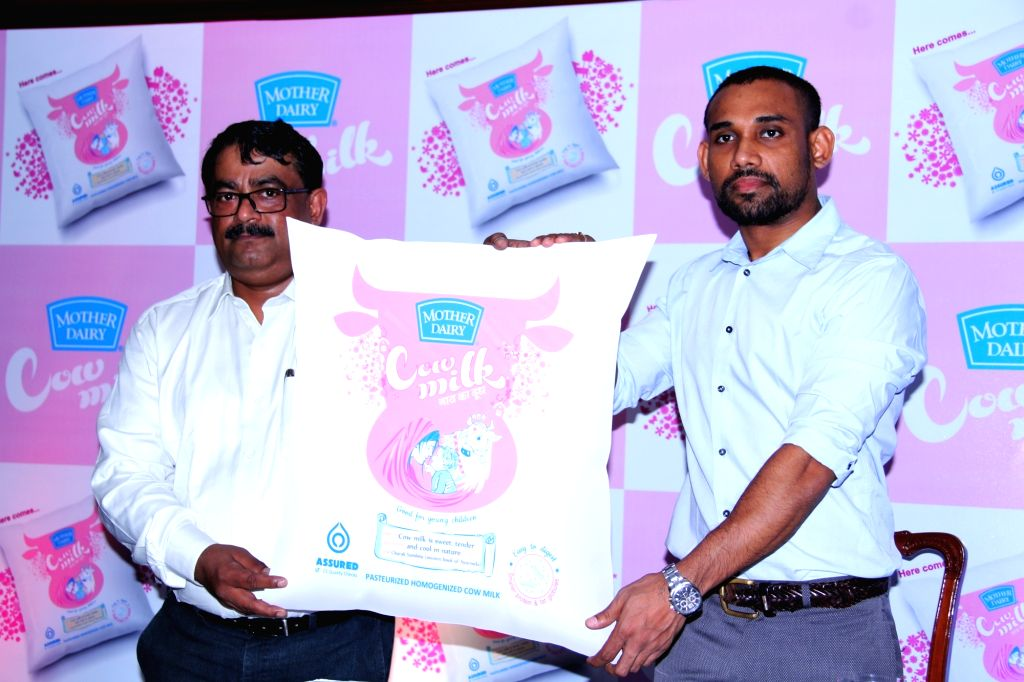 Mother Dairy Business Head-Milk Sandeep Ghosh during the launch of a cow milk variant in Hyderabad on July 21, 2016.