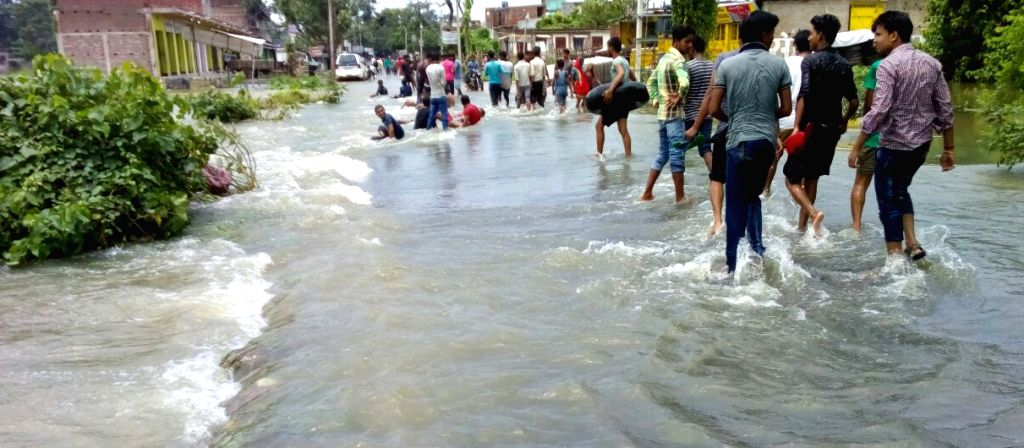 Motihari: A view of the flood hit Motihari in the Champaran district of Bihar on Aug 17, 2017.