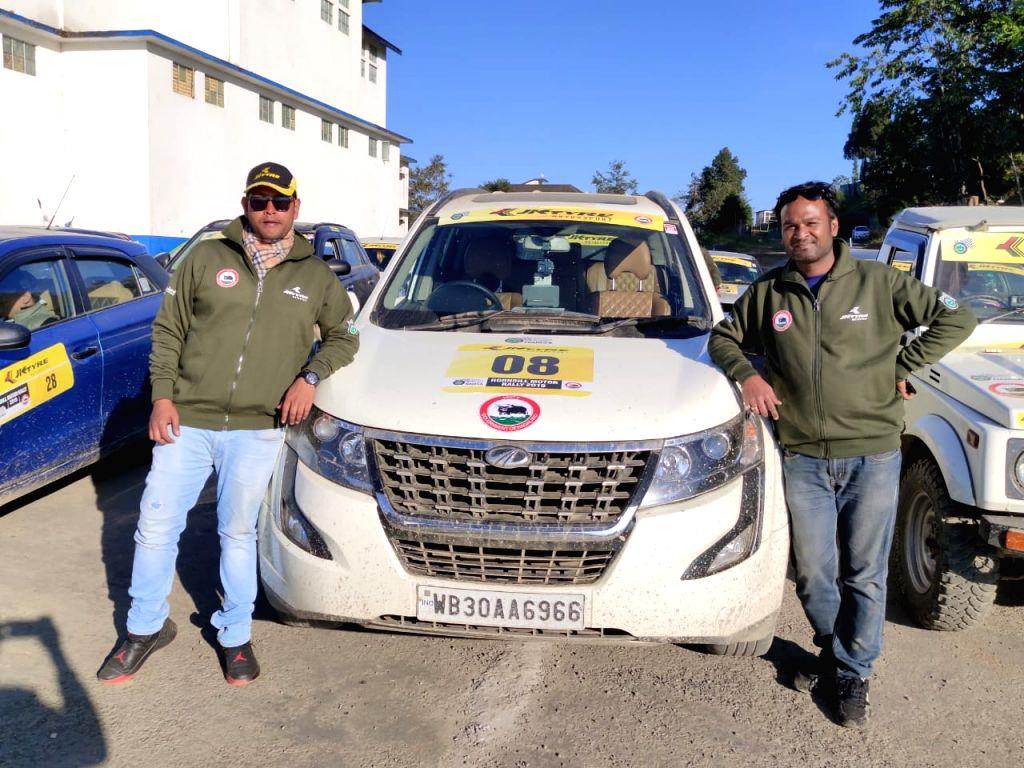 Motor racer Sandeep Mukherjee with navigator Prakash M at the 10th JK Tyre Hornbill Motor Rally in Kohima on Dec 5, 2019. - Sandeep Mukherjee