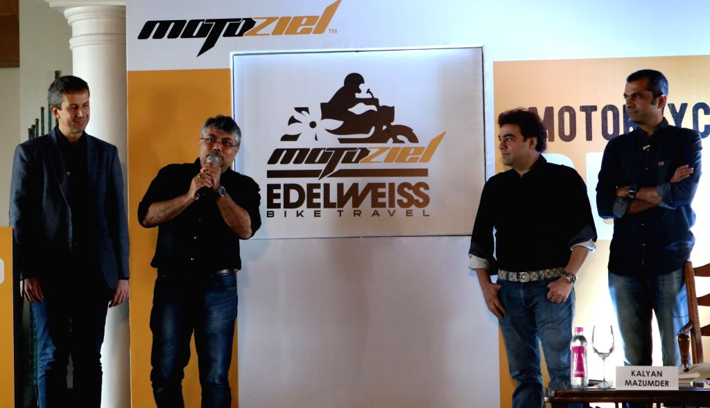 Motoziel Co-founders Kalyan Mazumder and Biswaroop Baenerjee with MD of Edelweiss bike travel, Rainer Buck during a press conference to announce Motoziel-Edelweiss joint venture in New ...