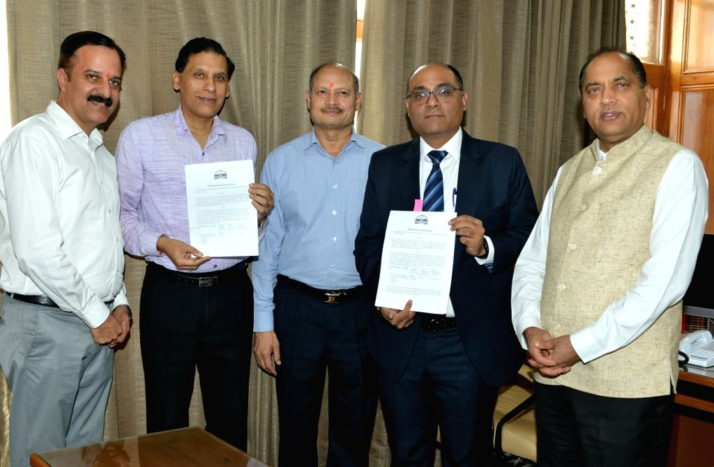 MoU signing ceremony between State Government and M/s Renew Energy Pvt. Ltd. and Himachal Government in the presence of Himachal Pradesh Chief Minister Jai Ram Thakur in Shimla on Sep 3, 2019. - Jai Ram Thakur