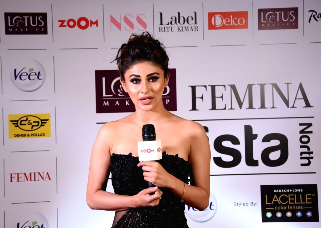Mouni Roy addresses at Lotus Makeup Femina Stylista North 2019 in Gurugram, on March 29, 2019. - Mouni Roy