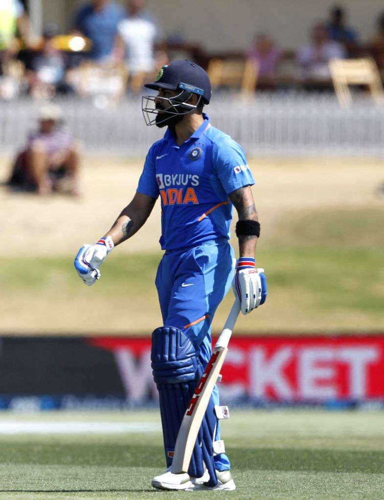 Mount Maunganui: India captain Virat Kohli goes back to pavilion after dismissal during the 3rd ODI Match between New Zealand and India  at the Bay Oval, Mount Maunganui in New Zealand on Feb 11, ... - Virat Kohli