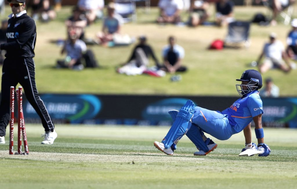 Mount Maunganui: Indian batsman Prithvi Shaw run out  during the 3rd ODI Match New Zealand and India at the Bay Oval, Mount Maunganui in New Zealand on Feb 11, 2020. - Prithvi Shaw