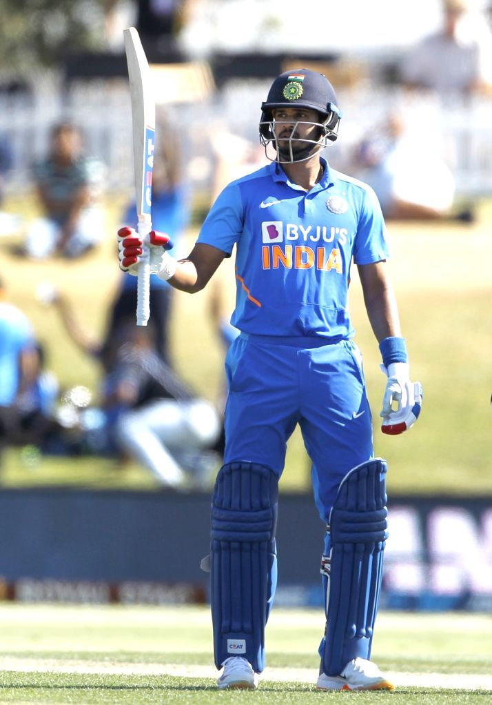 Mount Maunganui: Indian player Shreyas Iyer raise his bat after completing fifty during the 3rd ODI Match New Zealand and India  at the Bay Oval, Mount Maunganui in New Zealand on Feb 11, 2020.