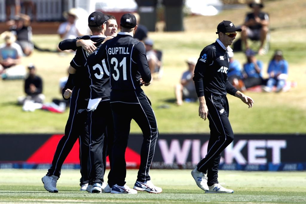 Mount Maunganui: New Zealand players celebrate the wicket of Virat Kohli during the 3rd ODI Match between New Zealand and India  at the Bay Oval, Mount Maunganui in New Zealand on Feb 11, 2020. - Virat Kohli