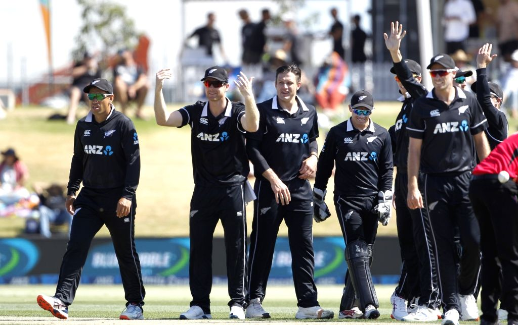 Mount Maunganui: New Zealand Players celebrates the wicket of Prithvi Shaw's run out during the 3rd ODI Match New Zealand and India at the Bay Oval, Mount Maunganui in New Zealand on Feb 11, 2020.