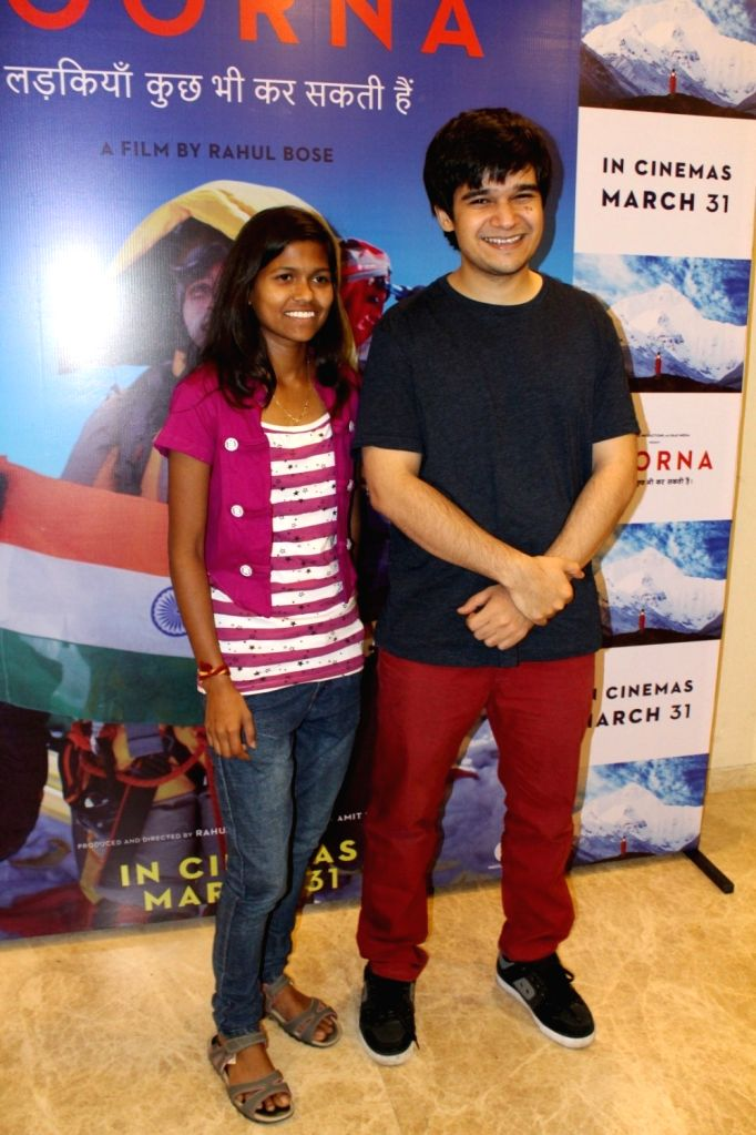 Mountaineer Poorna Malavath and actor Vivaan Shah during the screening of film Poorna in Mumbai on March 26, 2017. - Vivaan Shah