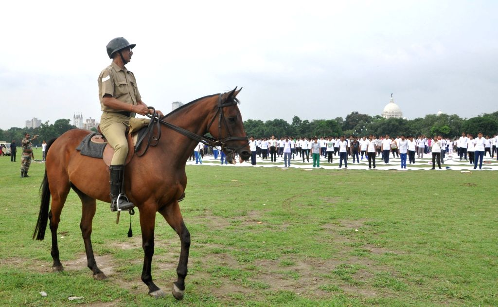 Mounted Police deployed as a measure during International Yoga Day celebrations  in Kolkata on June 21, 2017.