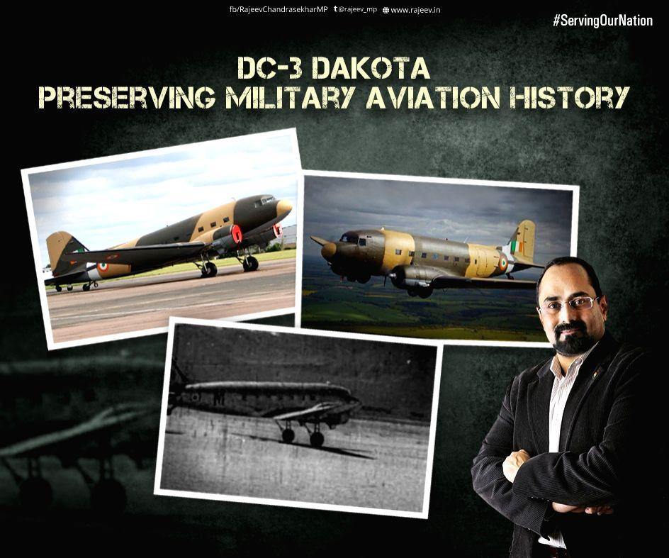 MP Rajeev Chandrasekhar with Douglas DC3 'Dakota'  Aircraft