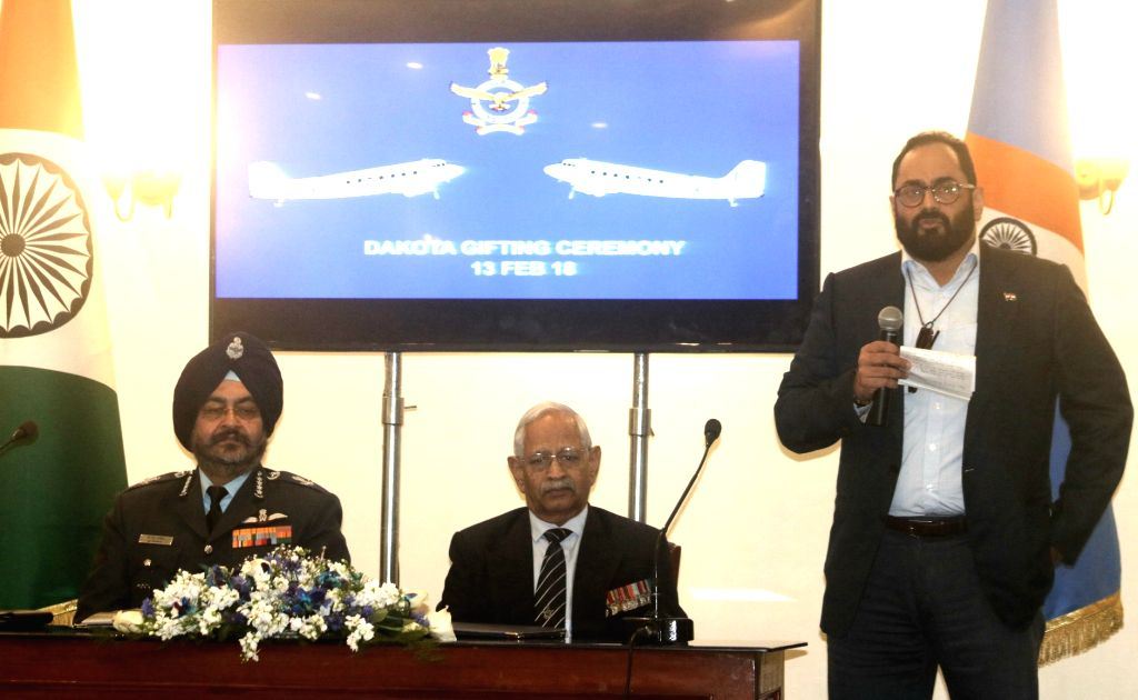 MP Rajeev Chandrashekhar along with retired Air Commodore M.K. Chandrasekhar and Chief of Air Staff Air Chief Marshal Birender Singh Dhanoa, addresses during the signing of a gift deed to ...