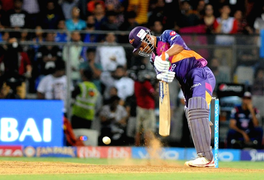 MS Dhoni of Rising Pune Supergiant in action during the first qualifier of IPL 2017 between Mumbai Indians and Rising Pune Supergiant at Wankhede Stadium in Mumbai on May 16, 2017. - MS Dhoni