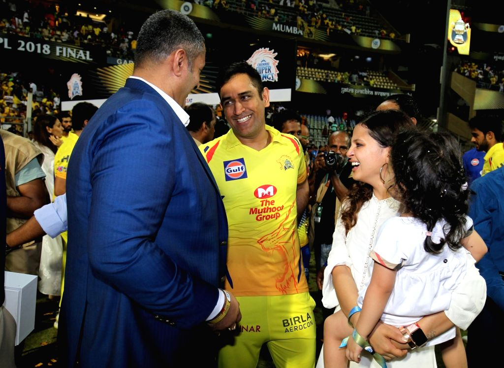 MS Dhoni with Anirudh Chaudhry. (Photo: Surjeet Yadav/IANS) - MS Dhoni and Surjeet Yadav