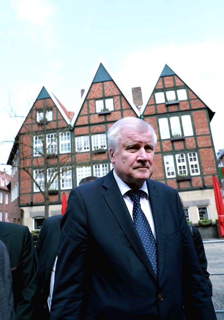 MUENSTER, April 8, 2018 - German Interior Minister Horst Seehofer condoles at the site of the vehicle plowing in Muenster, Germany, on April 8, 2018. Three people including the perpetrator died and a ... - Horst Seehofer