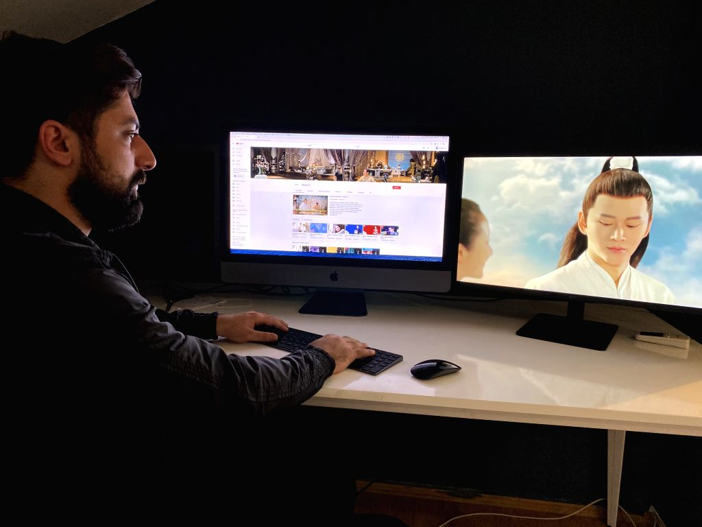 Muhammet Demirel, a 24-year-old director of Demirel Group, works in a studio in Istanbul, Turkey, on June 23, 2020. A young Turkish entrepreneur and his team based ...