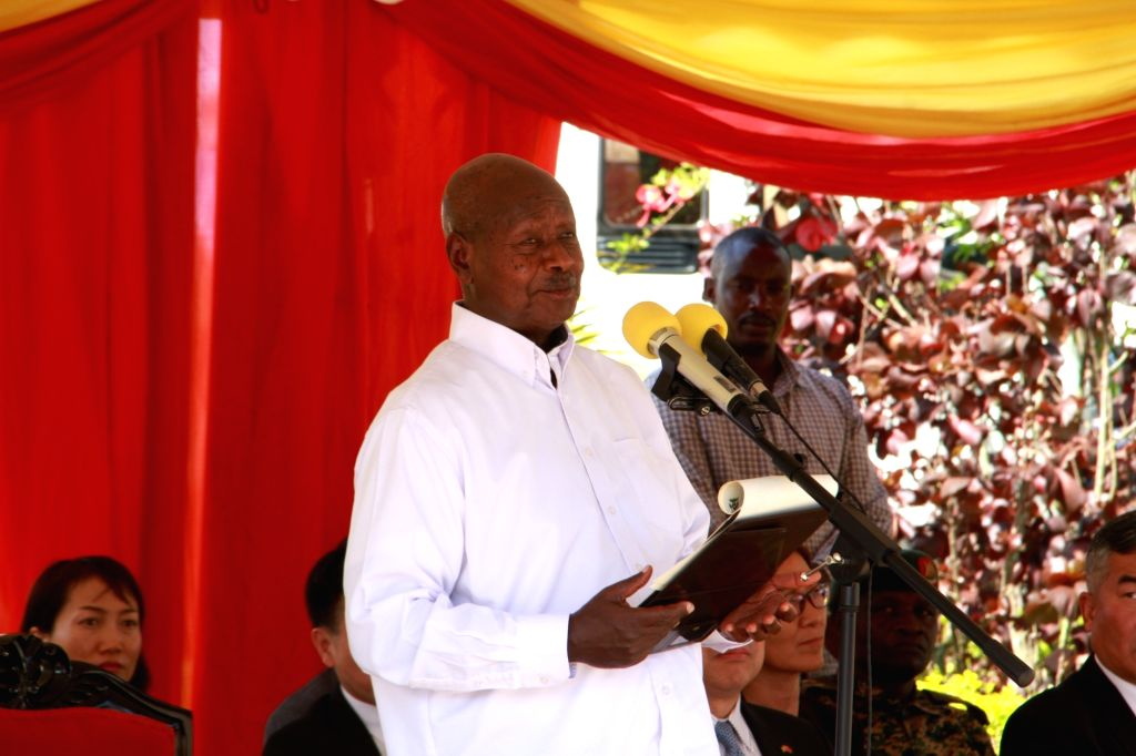 MUKONO, March 10, 2019 - Ugandan President Yoweri Museveni delivers a speech during a tour to Chinese factories in central district of Mukono, Uganda, March 9, 2019. The president on Saturday toured ...