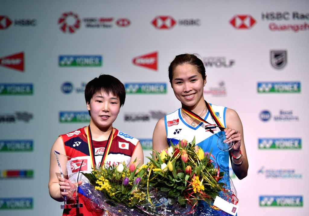 MULHEIM, March 4, 2019 - Akane Yamaguchi (L) of Japan and Ratchanok Intanon of Thailand  pose after the awarding ceremony for the women's singles final at the Yonex German Open 2019 badminton ...