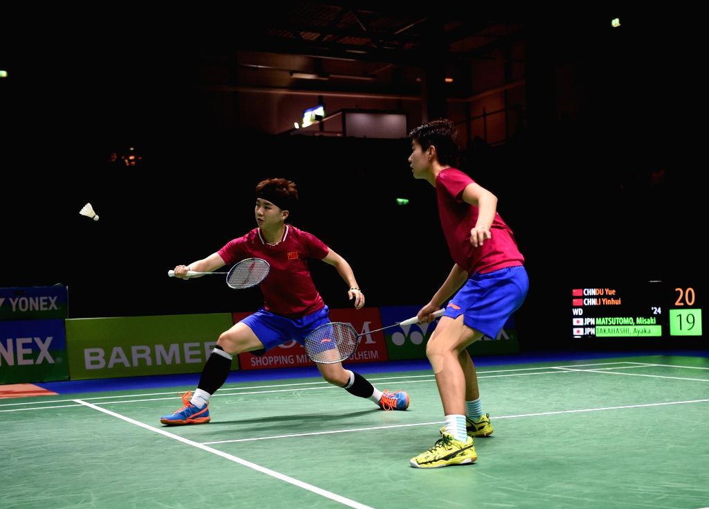 MULHEIM, March 4, 2019 - Du Yue (R) and Li Yinhui of China compete during the women's doubles final match against Matsutomo Misaki and Takahashi Ayaka of Japan at the Yonex German Open 2019 in ...