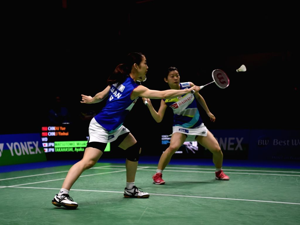 MULHEIM, March 4, 2019 - Matsutomo Misaki (L) and Takahashi Ayaka of Japan compete during the women's doubles final match against Du Yue  and Li Yinhui of China  at the Yonex German Open 2019 in ...