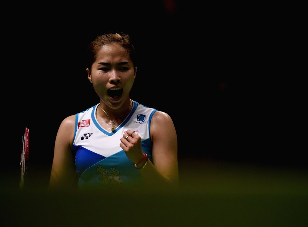 MULHEIM, March 4, 2019 - Ratchanok Intanon of Thailand reacts during the women's singles final between Akane Yamaguchi of Japan and Ratchanok Intanon of Thailand at the Yonex German Open 2019 ...