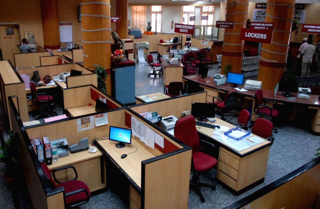 A bank in Mumbai wears a deserted look as bank employees join a day-long strike called to press for their demands, including pay revision on Nov 12, 2014. Employees of 27 public sector ...