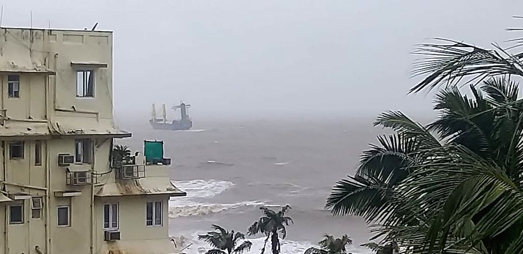 Mumbai: A dry bulk cargo ship apparently landed in troubled waters off Mumbai coast in the Arabian Sea off Raj Bhavan after the city was clobbered overnight with heavy rains, on Aug 4, 2020. The ship was noticed in the morning on Tuesday precariously