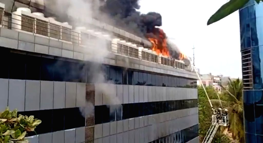 Mumbai: A major fire broke out in the server room of the Rolta company located in a three-storied commercial building at MIDC in Mumbai's Andheri east on Feb 13, 2020. (Photo: IANS/PIB)