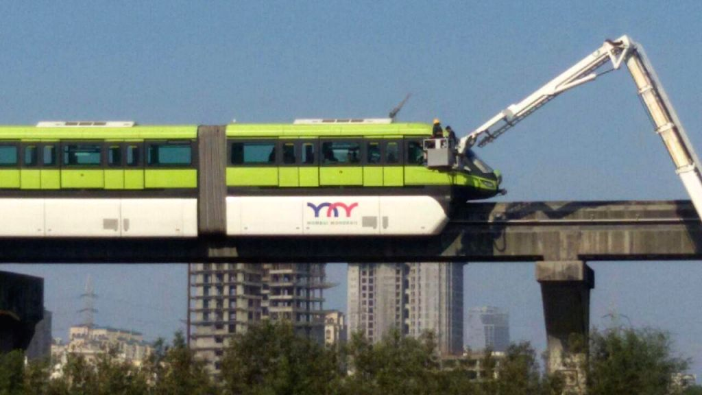 A monorail rake running from Wadala to Chembur stops near Bhakti Park station following a suspected power failure in Mumbai on March 15, 2015. Around a dozen commuters trapped in the stuck ...