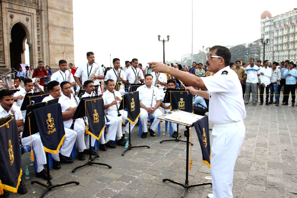 A navy band performs at the Gateway of India in the run up to the Navy Day celebration scheduled 4th Dec in Mumbai, on Nov 5, 2014.