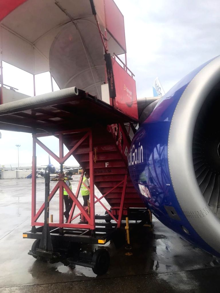 Mumbai: A SpiceJet stepladder was uprooted due to heavy winds, moved backward and rammed into an IndiGo plane, damaging it, at the Chhatrapati Shivaji Maharaj International Airport in Mumbai on June 6, 2020. A probe has been ordered into the matter.