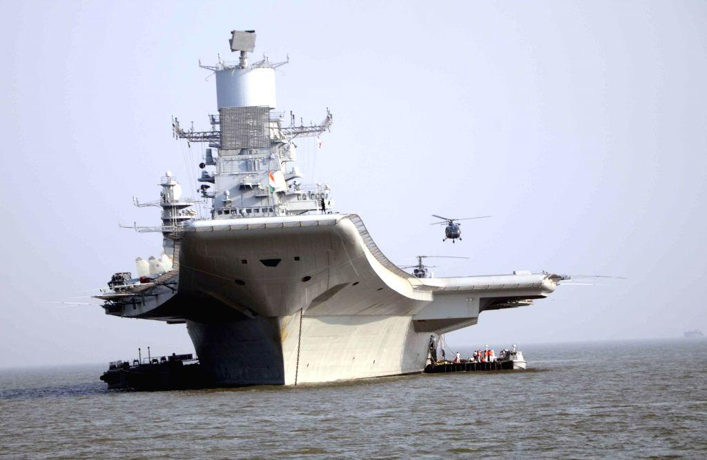 A view of INS Vikramaditya, off Mumbai coast on Dec 3, 2014.