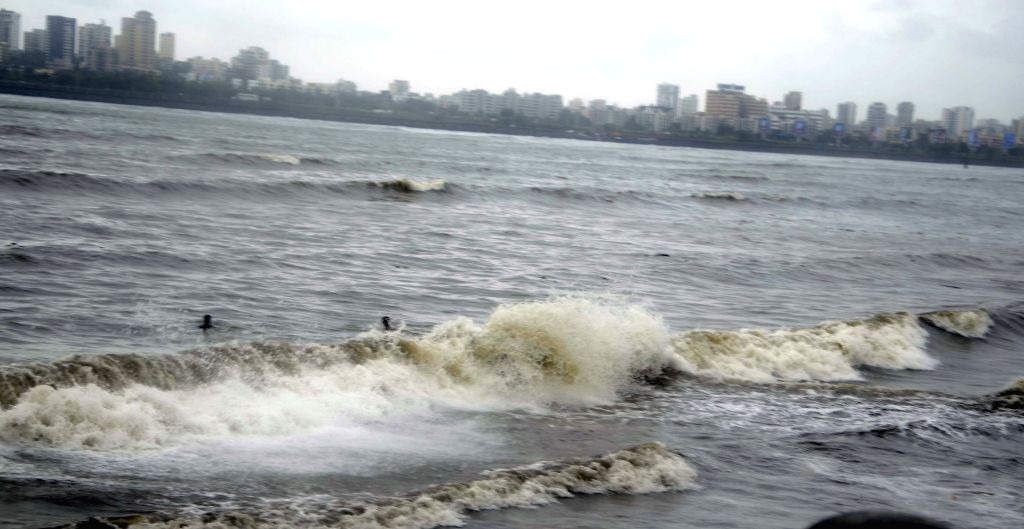 A view of waves in the Arabian Sea during high tide in Mumbai on June 13, 2015.