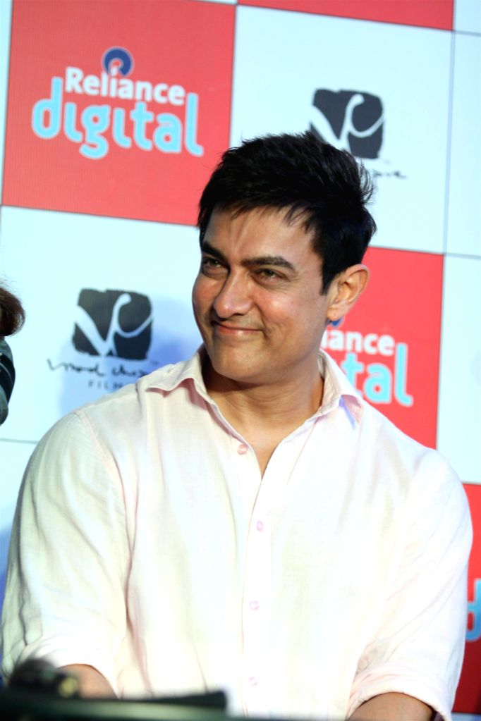 Actor Aamir Khan during the launch of official mobile game PK, in Mumbai on Dec. 12, 2014. - Aamir Khan