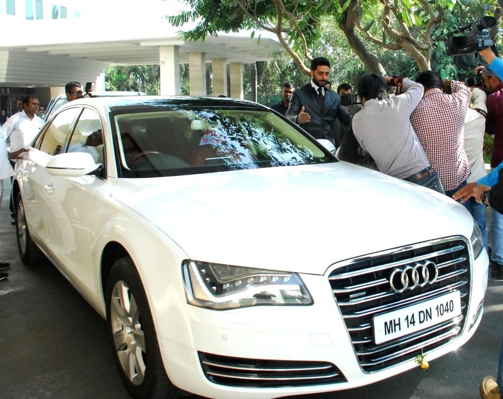 Actor Abhishek Bachchan snapped arriving in his Audi A8L car in Mumbai on Jan. 14, 2015.