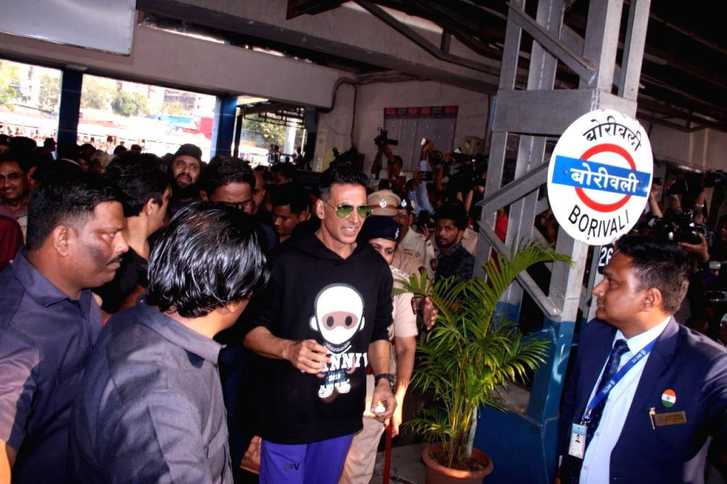 "Mumbai: Actor Akshay Kumar arrives at Borivali railway station to travel by a special promotional train from Mumbai to Delhi as part of 'Housefull4Express' rail journey during ""Housefull 4"" promotions, in Mumbai on Oct 16, 2019. (Photo: IANS) - Akshay Kumar"