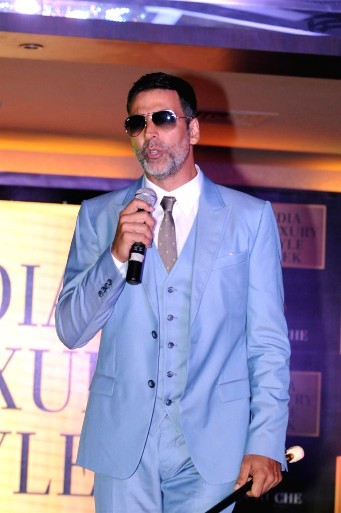Actor Akshay Kumar walks on the ramp at the announcement of India Luxury Style Week 2015 in Mumbai on, April 28, 2015. - Akshay Kumar