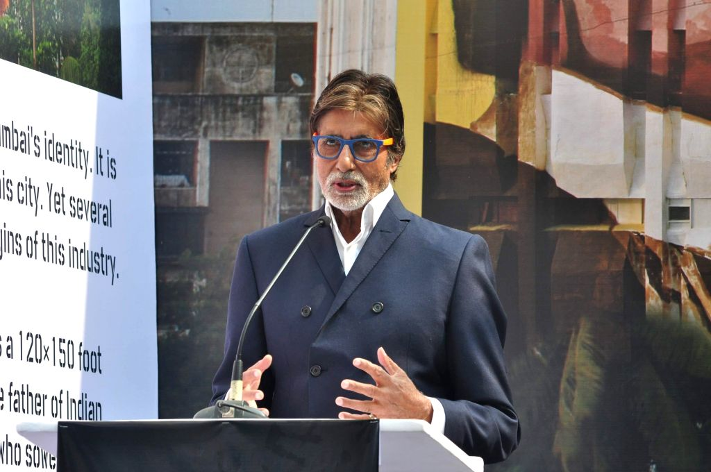 Actor Amitabh Bachchan during the unveiling of a 120x150 foot mural painting of Dadasaheb Phalke- the father of Indian Cinema painted by artist Ranjit Dahiya on the MTNL building as a part of - Amitabh Bachchan