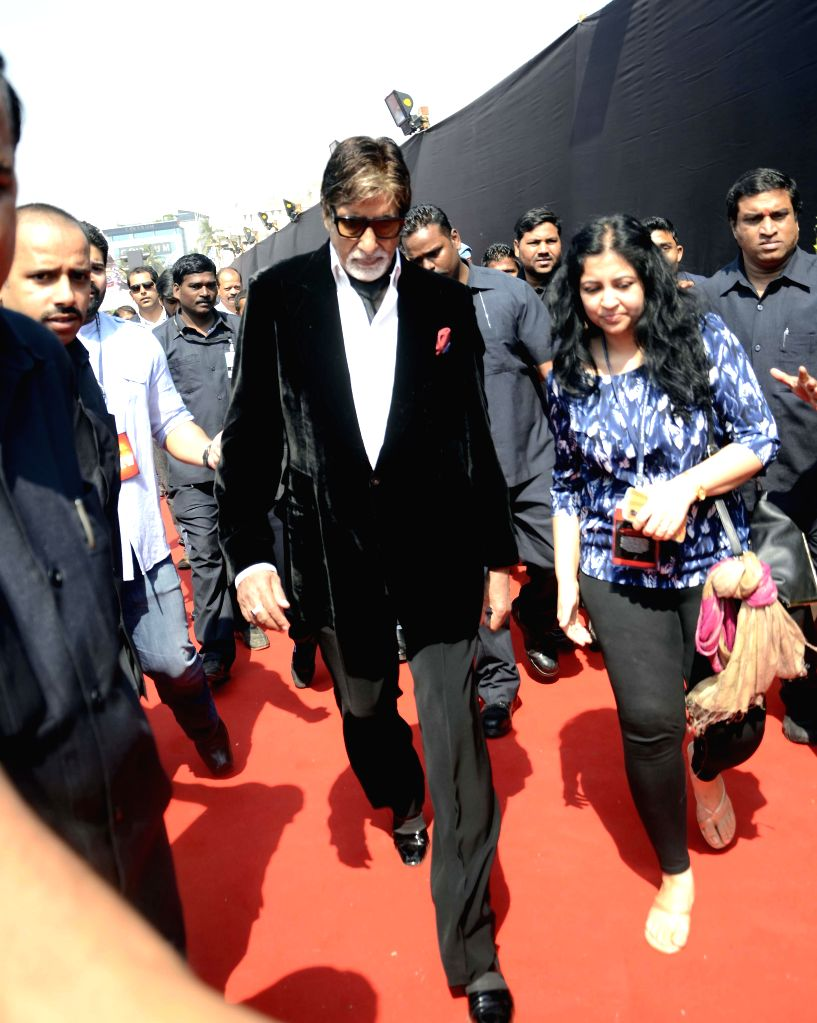 Actor Amitabh Bachchan during the promotion of film Shamitabh at the Mumbai International Motor Show 2015 in Mumbai on Feb 5, 2015. - Amitabh Bachchan