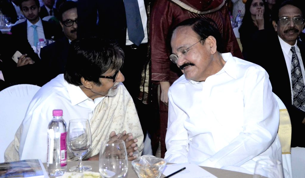 Actor Amitabh Bachchan, Union Minister for Urban Development, Housing and Urban Poverty Alleviation and Parliamentary Affairs, M. Venkaiah Naidu at the inauguration of `Mumbai Next` conclave . - Amitabh Bachchan and M. Venkaiah Naidu