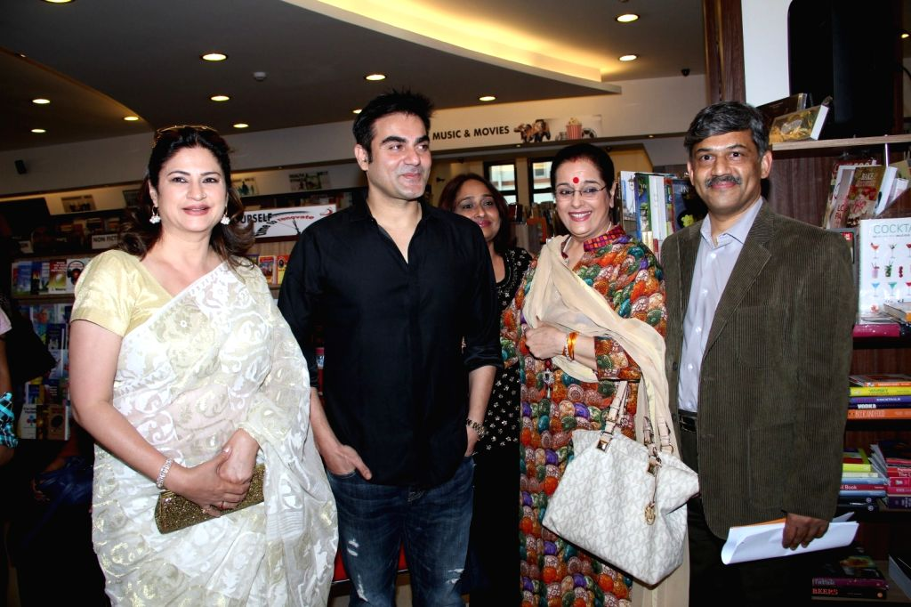 Actor and filmmaker Arbaaz Khan, actresses Poonam Sinha and Kunika Lall during the launch of author Dr P V Vaidyanathan`s book Why not use some common sense in Mumbai, on April 4, 2015. - Poonam Sinha, Kunika Lall and Arbaaz Khan