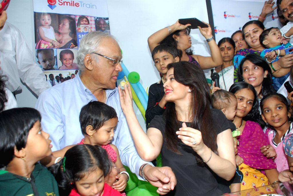Actor and Smile Train goodwill ambassador Aishwarya Rai Bachchan and her father Krishnaraj Rai during the celebration 20th anniversary of her Miss World Title win and father Krishnaraj Rai's . - Krishnaraj Rai