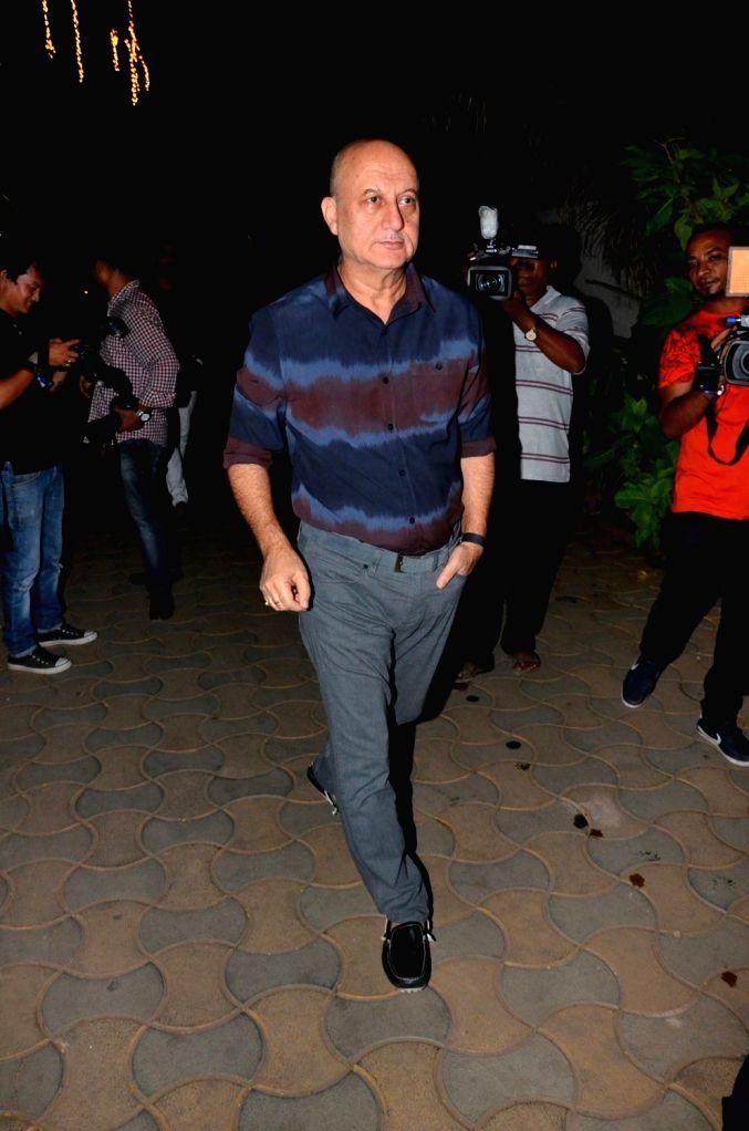 :Mumbai: Actor Anupam Kher arrives to attend the bollywood Akshay Kumar`s Diwali party in Mumbai on Nov 9, 2015. (Photo: IANS). - Salman Khan