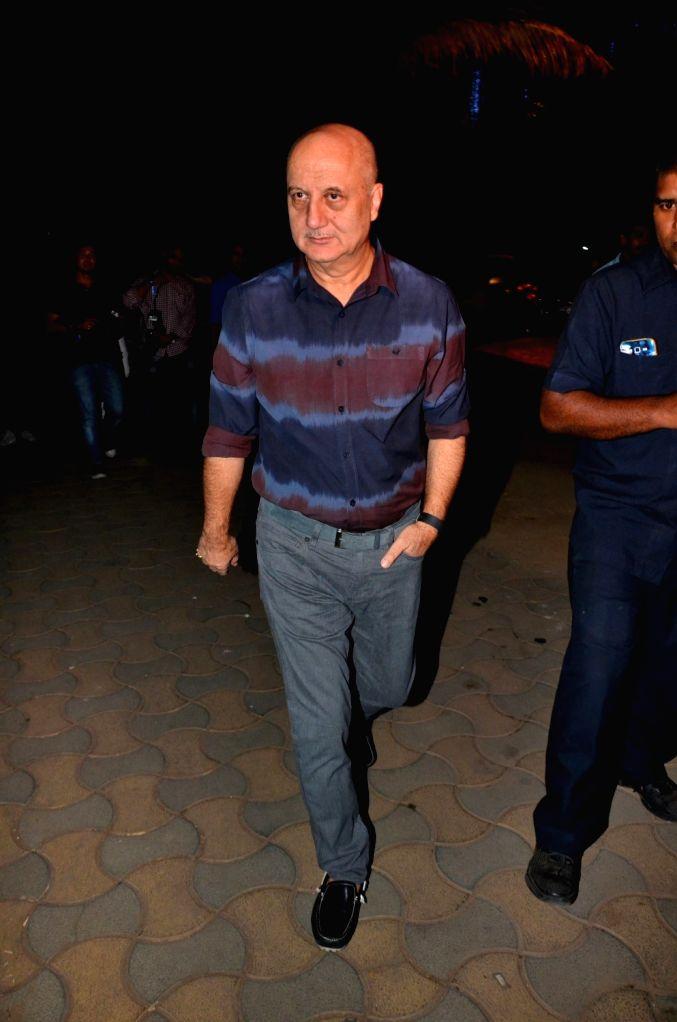:Mumbai: Actor Anupam Kher arrives to attend the bollywood Akshay Kumar`s Diwali party in Mumbai on Nov 9, 2015. (Photo: IANS).