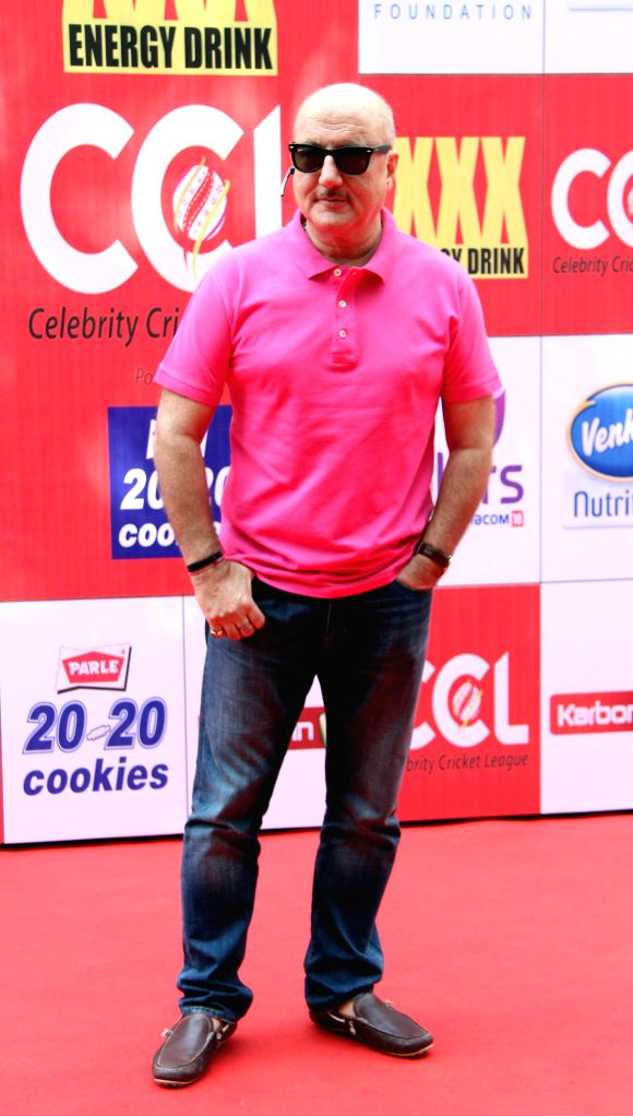Actor Anupam Kher during the Celebrity Cricket League (CCL) in Mumbai, on jan. 10, 2015. - Anupam Kher