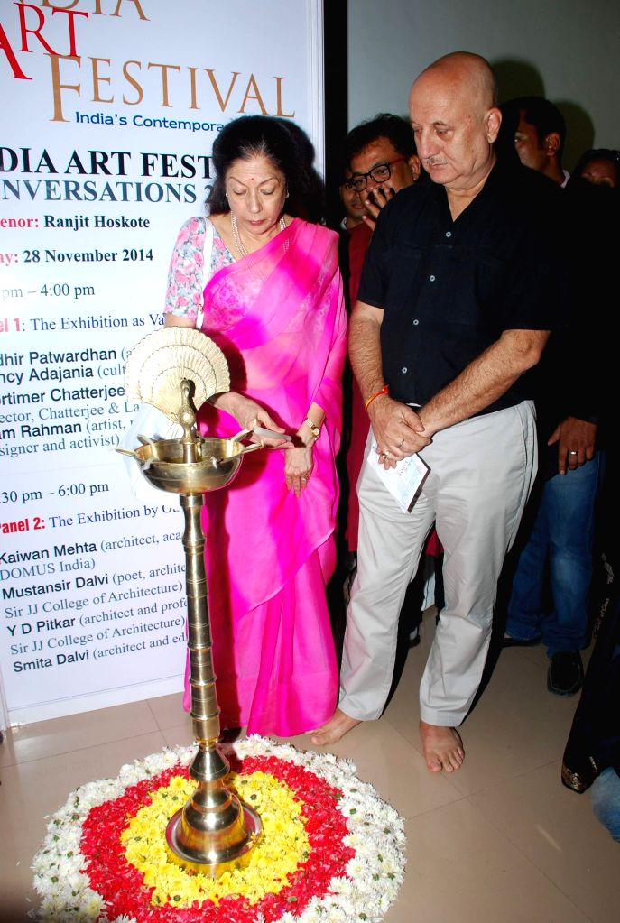 Actor Anupam Kher during the Inauguration of India Art Festival in Mumbai, on Nov 27, 2014.