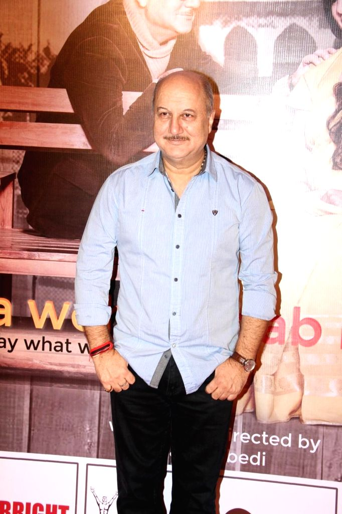 Actor Anupam Kher during the premier of play Mera Who Matlab Nahi Tha, in Mumbai, on March 8, 2015. - Anupam Kher
