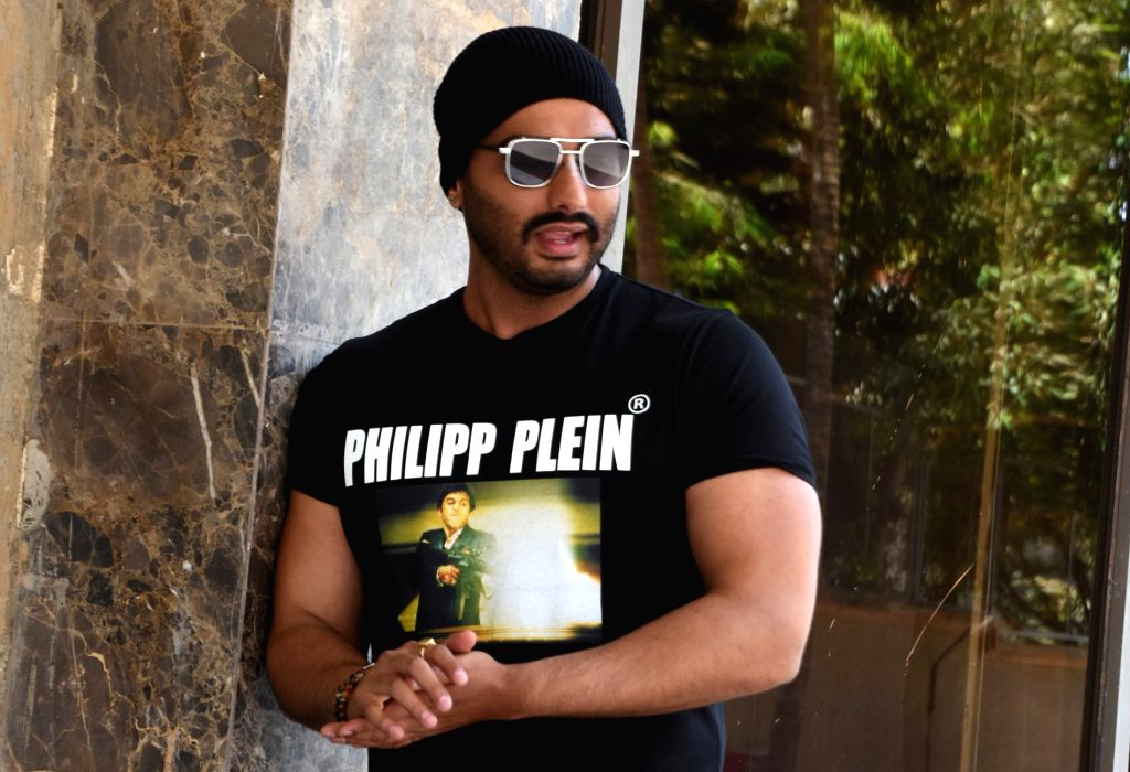 "Mumbai: Actor Arjun Kapoor at the promotion of his upcoming film ""India's Most Wanted"" in Mumbai, on May 7, 2019. (Photo: IANS) - Arjun Kapoor"