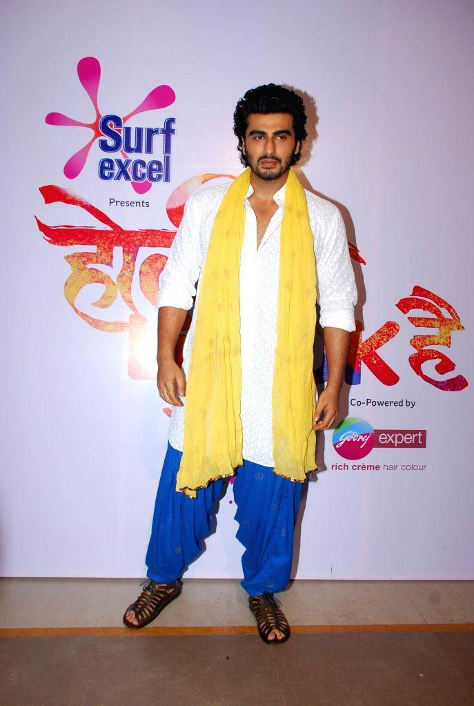 Actor Arjun Kapoor during Life Ok`s Holi event  in Mumbai, on February 28, 2015.